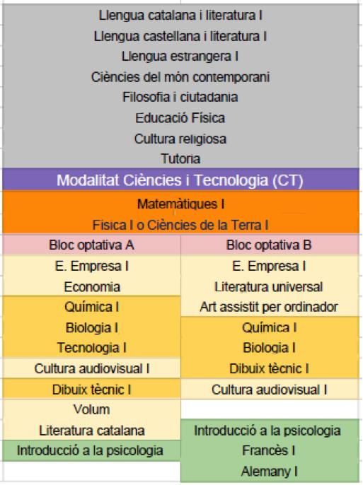 Matèries ciències i tecnologia 1r bat
