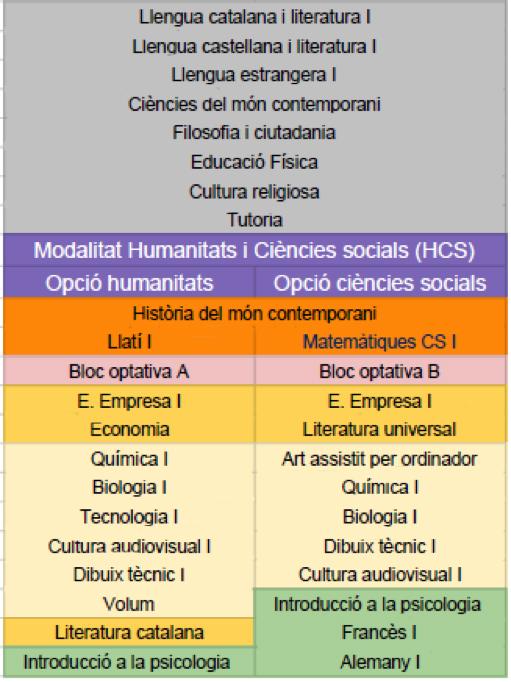 matèries humanitats i ciències socials 1r bat