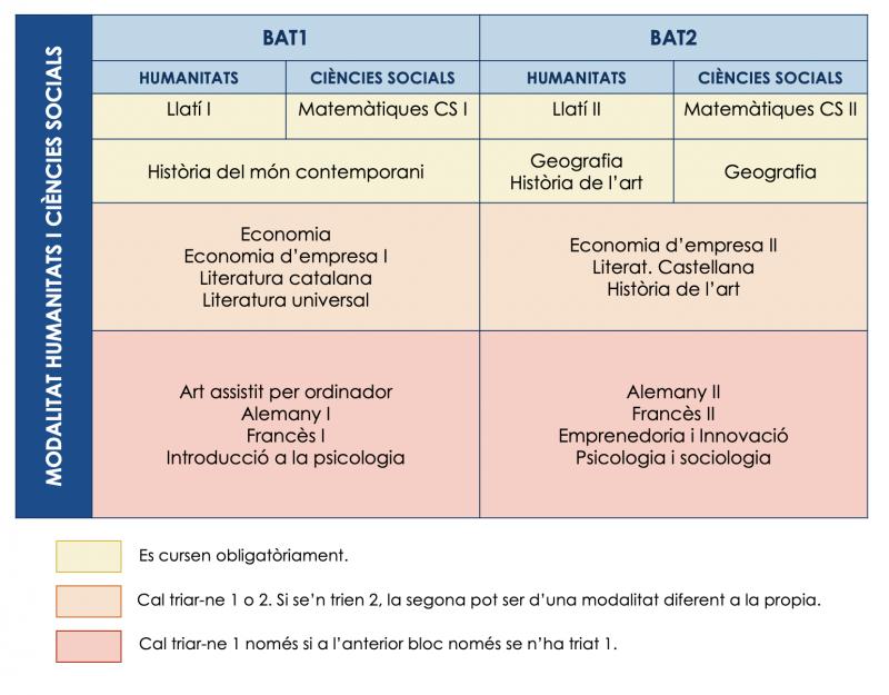 Estructura curricular humanístic i social